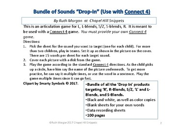 """Big Bundle!  Articulation """"Drop-In"""" (Use with Connect 4)"""
