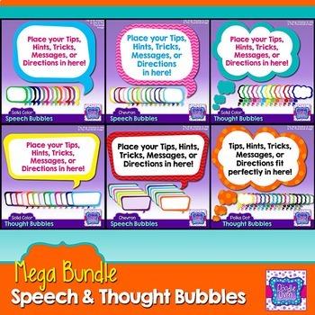 Speech Bubbles & Thought Bubbles Clipart Mega Bundle