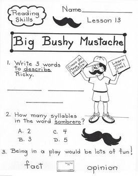 Big Bushy Mustache  2nd Grade Harcourt Storytown Lesson 13