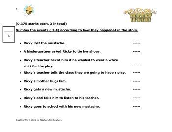 Big Bushy Mustache by Gary Soto - Reading Comprehension Quiz + Story Elements