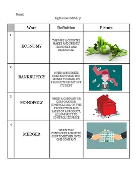 Big Business Vocabulary Matching Activity