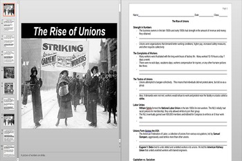 Big Business and Labor Unions Powerpoint AND Notes Worksheet