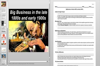 Big Business and Monopolies Powerpoint AND Notes Worksheet