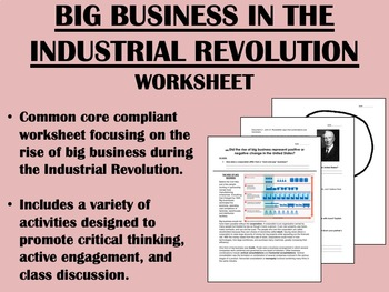 Big Business in the Industrial Revolution worksheet - US H
