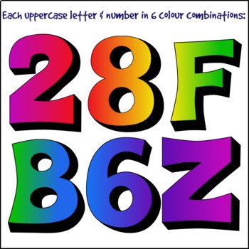 Chunky Rainbow Alphabet Letters and Numbers Clip Art