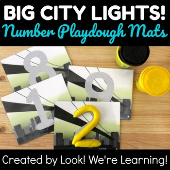 0-9 Number Playdough Mats - Big City Lights