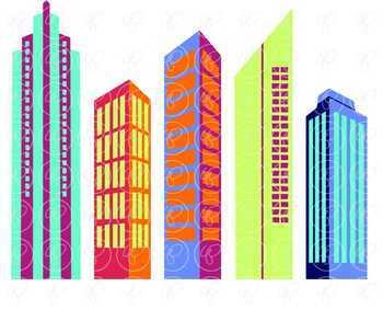 Big City Digital Skyscraper Clipart by Poppydreamz NOW WITH LINE ART!