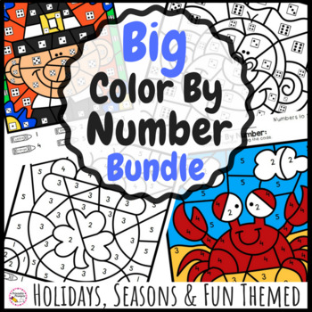 Big Color By Number Bundle- Color by code for all year