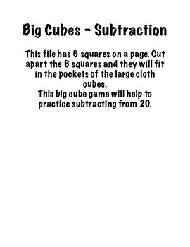 Big Cubes- Subtraction