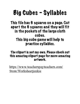 Big Cubes- Syllables