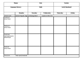 Big Day for PreK Simple Lesson Plan Template