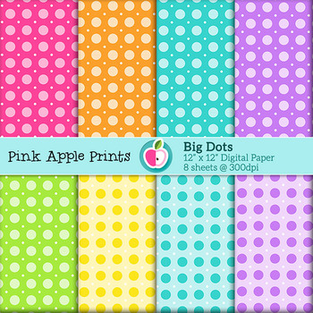 Rainbow Big Dots Style Digital Papers Set: Graphics for Teachers
