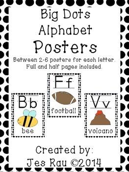 Big Dots Alphabet Posters in Black
