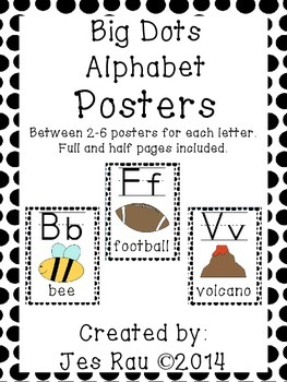 Big Dots Alphabet Posters in Black