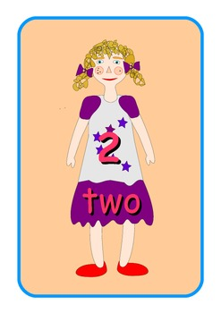 Big English Numbers 0 to 10  Flashcards .Cute dolls pictures .A4 size