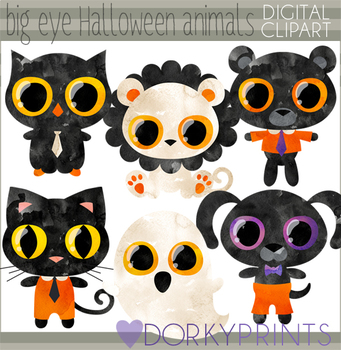 Big Eye Halloween Animals Clipart