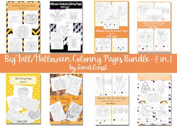 Big Fall/Halloween Coloring Pages Bundle - 8 in 1