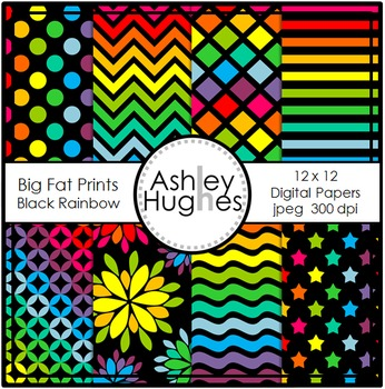 Big Fat Prints: Black Rainbow {12x12 Digital Papers for Co