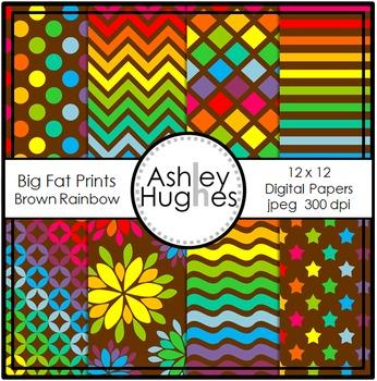 12x12 Digital Papers: Big Fat Prints - Brown Rainbow {A Hughes Design}