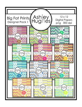 12x12 Digital Papers: Big Fat Prints Bundle 1 {A Hughes Design}