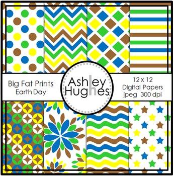 12x12 Digital Papers: Big Fat Prints Earth Day {A Hughes Design}