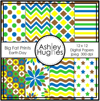 Big Fat Prints: Earth Day {12x12 Digital Papers for Commer