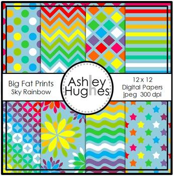 Big Fat Prints: Sky Rainbow {12x12 Digital Papers for Comm