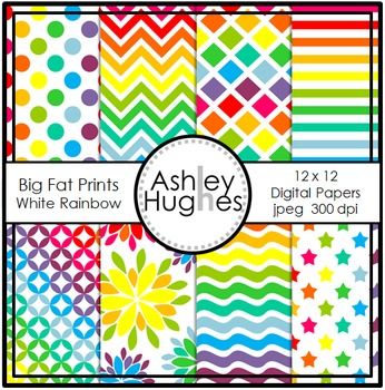 12x12 Digital Papers: Big Fat Prints - White Rainbow {A Hughes Design}