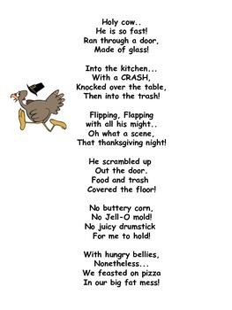Big Fat Thanksgiving Mess Poem. Great great for imagery and adjectives study