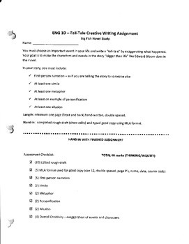 Big Fish Tall-tales Creative Writing Assignment