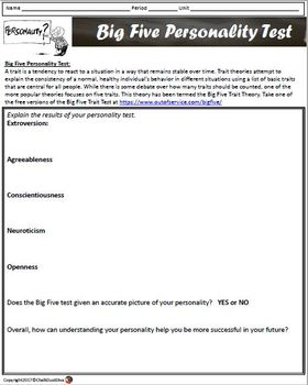 big five personality comparison activity and test print and digital