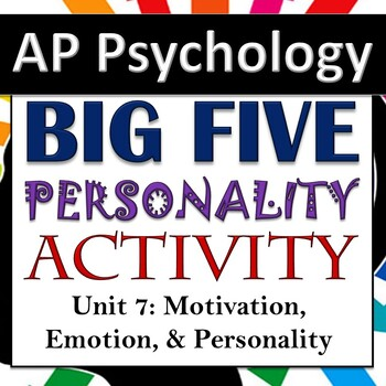 Big Five Traits Personality Activity & Lesson - AP Psychology - Unit 7