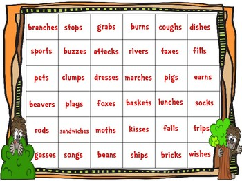 Big Foot Suffix - es, - s Spinner Game