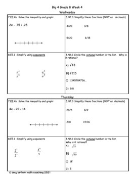 Big Four Bellringers 8th Grade Math Common Core - Week 4