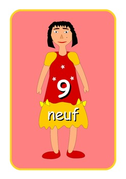 Big French Numbers 0 to 10  Flashcards .Cute dolls pictures .A4 size