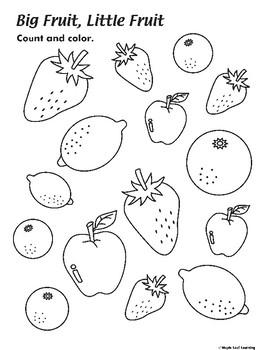 Big Fruit, Little Fruit Coloring Worksheet