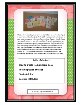 Big Fun with Little Books! A differentiated approach to a book report foldable