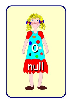 Big German Numbers 0 to 10  Flashcards .Cute dolls pictures .A4 size