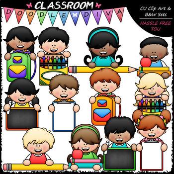 Big Grin Back To School Topper Kids - Clip Art & B&W Set
