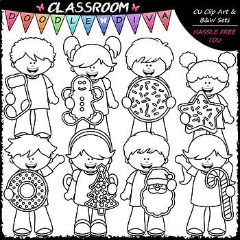 Big Grin Christmas Cookie Kids - Clip Art & B&W Set