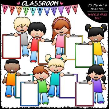 Big Grin Clipboard Kids Clip Art - Kids With Clipboards Clip Art & B&W Set