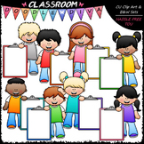 Big Grin Clipboard Kids Clip Art - Kids With Clipboards Cl