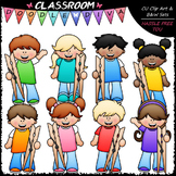 Big Grin Clothespin Kids - Clip Art & B&W Set