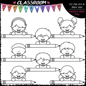 Big Grin Colorful Pencil Topper Kids - Clip Art & B&W Set