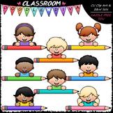 Big Grin Colorful Pencil Topper Kids - Clip Art & B&W Set