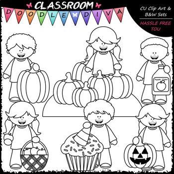 Big Grin Fall Kids - Clip Art & B&W Set
