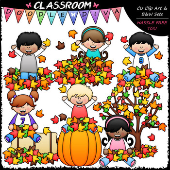 Big Grin Fall Leaves Fun Kids - Clip Art & B&W Set