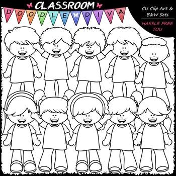 Big Grin Girls & Boys Clip Art - Kids Clip Art & B&W Set