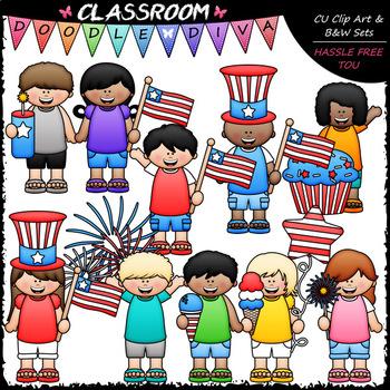Big Grin July 4 Kids - Clip Art & B&W Set