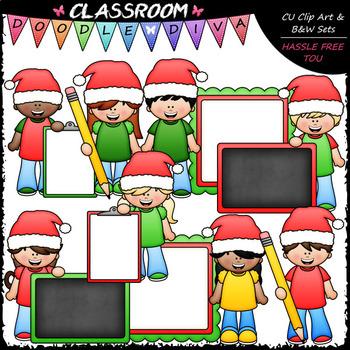Big Grin Santa Hat Kids - Clip Art & B&W Set
